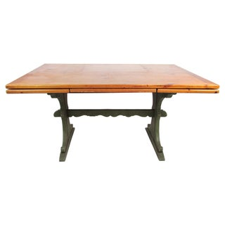 Pine Trestle Table With Hidden Leaves
