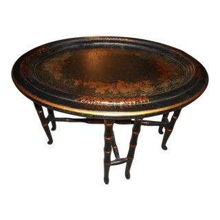 Regency Faux Bamboo Tole Tray Table
