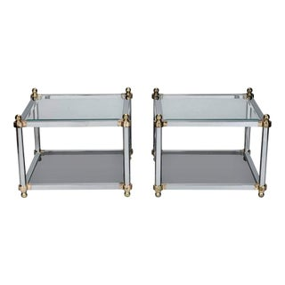 Maison Jansen for Design Institute of America Chrome & Brass Tables - A Pair