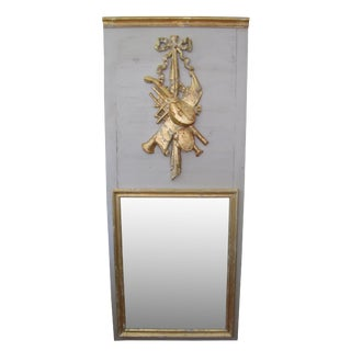 French Trumeau Mirror With Carved Artwork of Musical Instruments