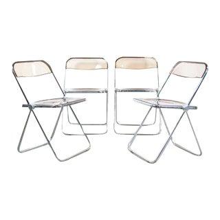 Giancarlo Piretti Lucite Folding Chairs - Set of 4