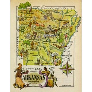 Vintage Arkansas Pictorial Map, 1946