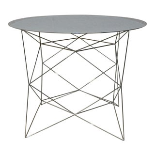 Geometric Chrome Side Table by West Elm