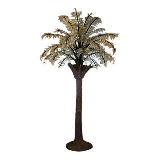 Huge Glass Frond Palm Tree Floor Light