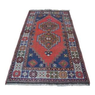 Vintage Turkish Handmade Rug - 4′1″ × 7′8″