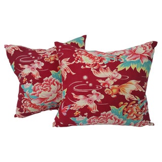 Chinese Goldfish and Flowers Pillow - Pair