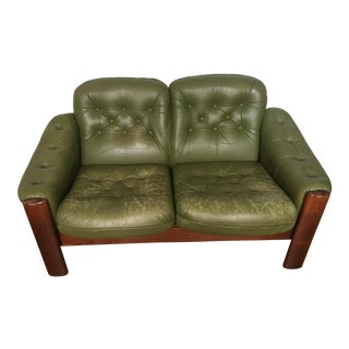 1960s Vintage Swedish Green Leather Love Seat