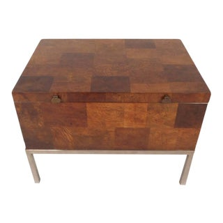 Lane Furniture Mid-Century Modern Burl Storage Box with Chrome Base