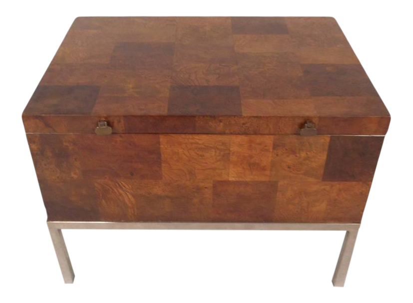 Elegant Lane Furniture Mid Century Modern Burl Storage Box With Chrome Base
