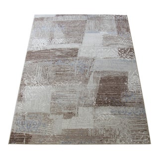 "Brown Blue Faded Transitional Rug with Damask - 5'3"" x 7'7"""