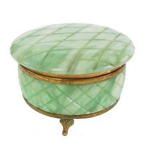 Vintage Italian Green Alabaster Round Gold Footed Vanity Trinket Box