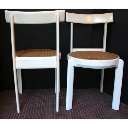 Midcentury Italian White Lacquered Chairs - A Pair - Image 5 of 10