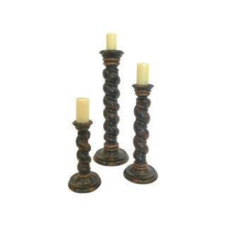 Hand Carved Wooden Candlesticks - Set of 3