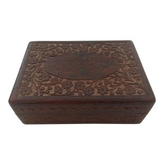 Vintage India Hand Carved Floral Design Sandalwood Box With Lining & Hinged Lid