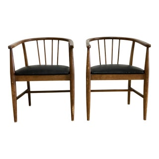 Mid-Century Modern Spindle Back Walnut Chairs - Set of 2