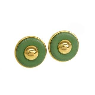 Hermes Green Leather & Palladium Clip-On Earrings