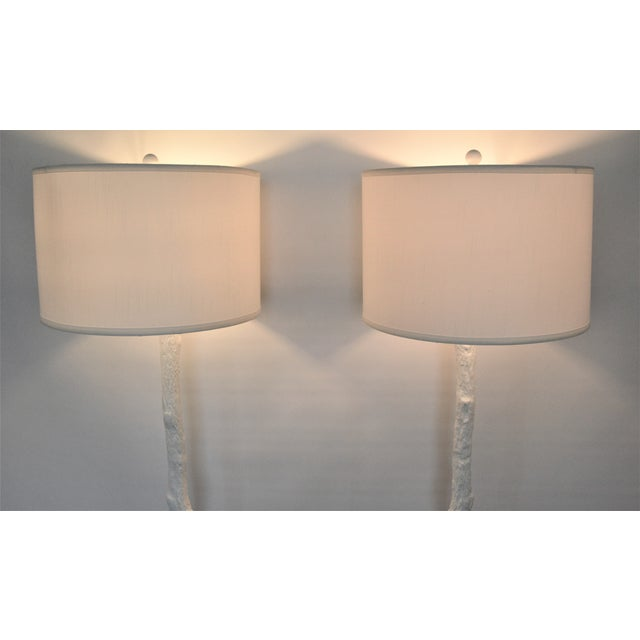 White Faux Bois Floor Lamps Inspired by Serge Roche - a Pair - Image 6 of 11