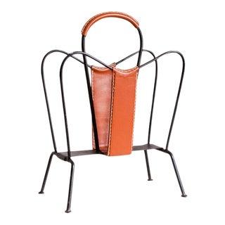 Vintage Leather & Iron Jacques Adnet Style Magazine Holder