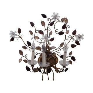 Vintage Italian Gilt Metal & Flower Wall Sconce