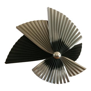 Silver & Black Folded Metal Fan Wall Art