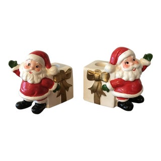 Vintage Santa Claus Candleholders - A Pair