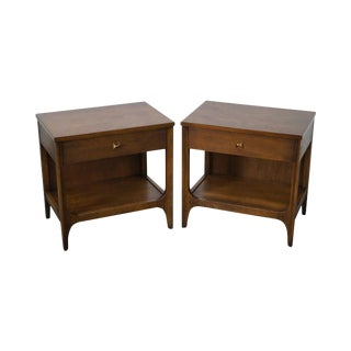Broyhill Brasilia Mid Century Modern Walnut 1 Drawer Nightstands - a Pair