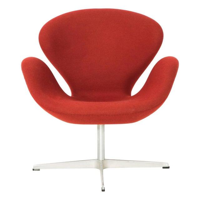 Arne Jacobsen for Fritz Hansen Red Wool Swan Chair - Image 1 of 5
