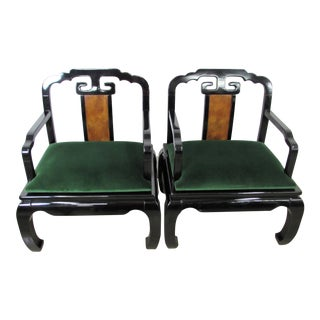Asian Inspired Arm Chairs in Black Lacquer - a Pair