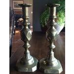 Image of 1897 English Brass Candlesticks - Pair