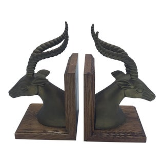 Brass Antelope Head Bookends on Wood Bases - A Pair