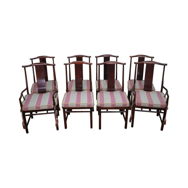 Baker Asian Mahogany Dining Chairs - Set of 8 - Image 1 of 10