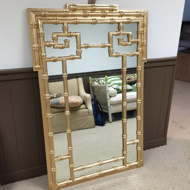 Labarge Gold Leaf Faux Bamboo Mirror - Image 2 of 5