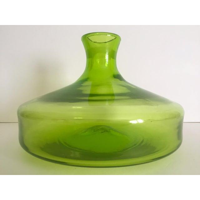 Vintage Blenko Mid-Century Chartreuse Handmade Glass Vase - Image 8 of 11