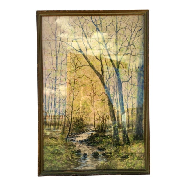1948 Original Forest Watercolor Painting - Image 1 of 6