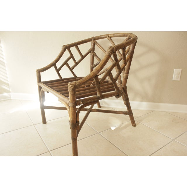 Rattan Chippendale Barrel Armchair - Image 2 of 7