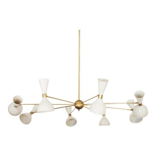 Large Mid-Century Brass Chandelier, 1950s