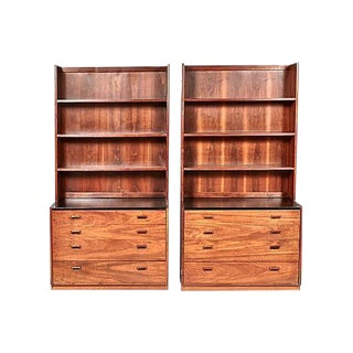 1960s Walnut Shelving Units - A Pair
