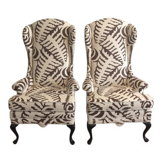 Quadrille Fabric Wingback Chairs - A Pair