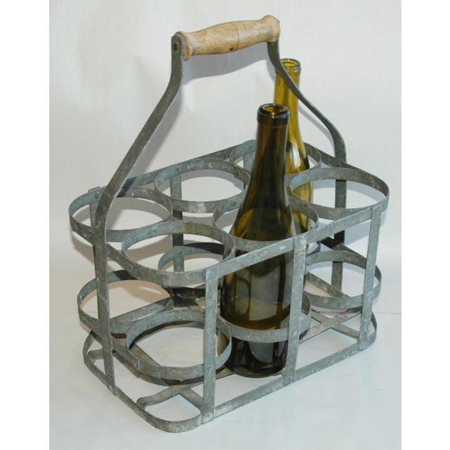 1930s french porte bouteille zinc 6 wine bottle carrier for French porte