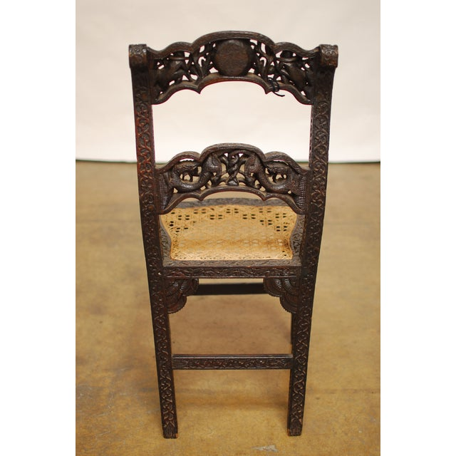 Anglo Indian Carved Rosewood Desk Chair - Image 5 of 7