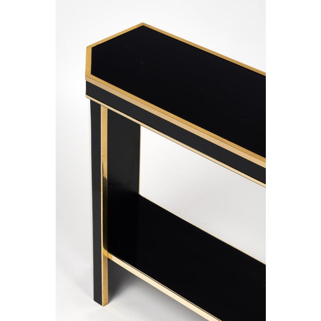 1960s French Black Lucite with Brass Console Table - Image 7 of 9