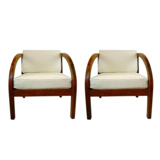 """Pair of Stunning Modernage Art Deco """"D"""" Lounge Chairs"""