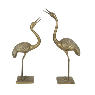 "3ft / 36"" Brass Crane Bird Figurines - a Pair"