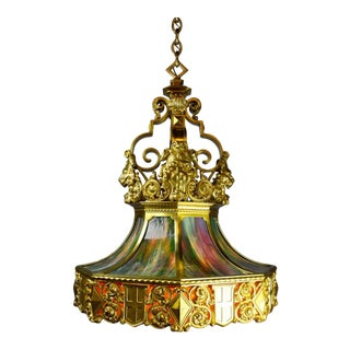 """Monumental Heavy Cast Brass """"Lion's Head"""" Lantern attributed to E.F. Caldwell"""