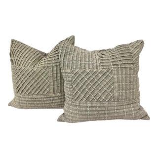 Gray Textured Patchwork Pillows - A Pair