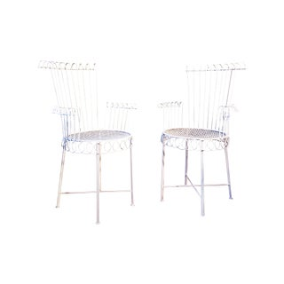 Mathieu Mategot Model Cap d'Ail Iron Outdoor / Indoor Chairs - a Pair