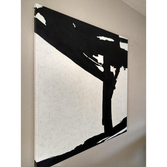 Hand Painted Large Black & White Abstract Painting - Image 8 of 11