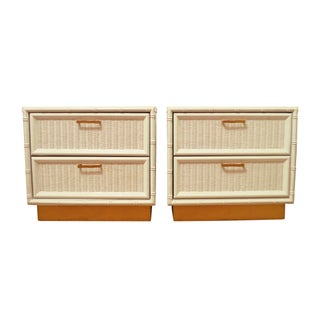 Stunning Faux Bamboo White and Gold Side Tables