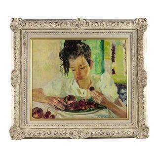 Luigi Corbellini Woman With Fruit Oil on Canvas Painting