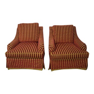 Custom Upholstered Swivel Club Chairs - a Pair